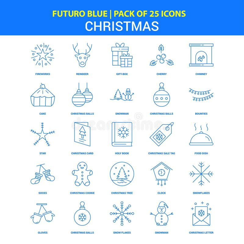 Iconos de la Navidad - paquete azul de 25 iconos de Futuro ilustración del vector
