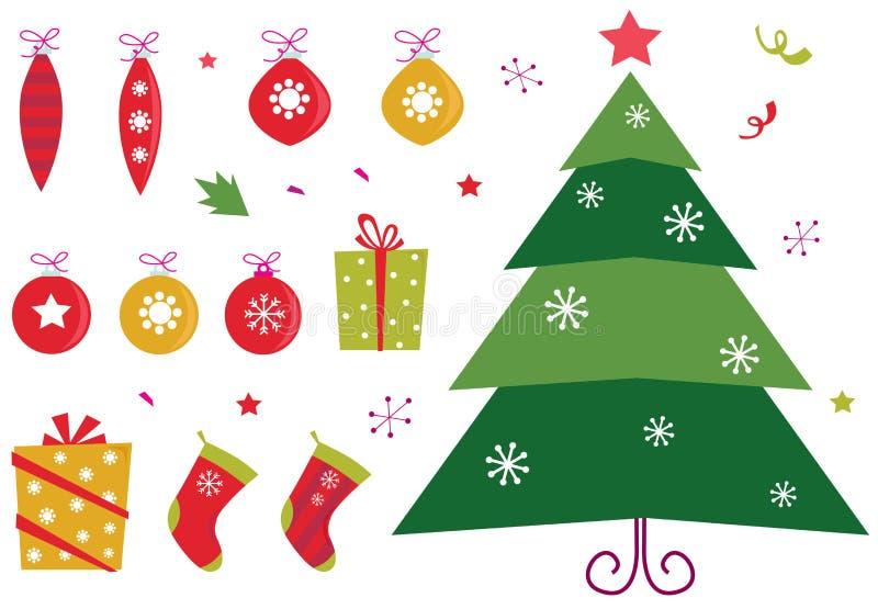 Iconos de la Navidad y conjunto de elementos retros ilustración del vector