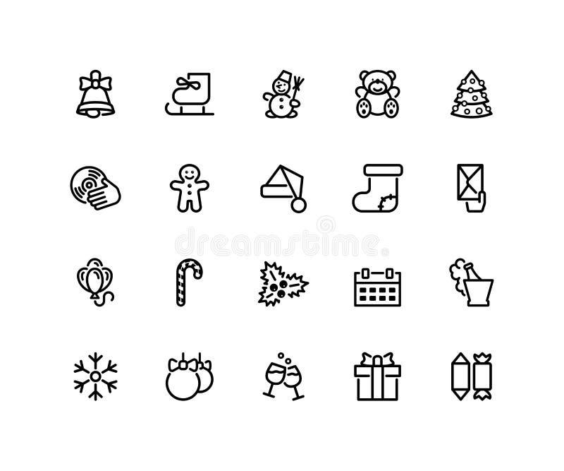 Iconos de la Navidad y del Año Nuevo aislados en blanco libre illustration