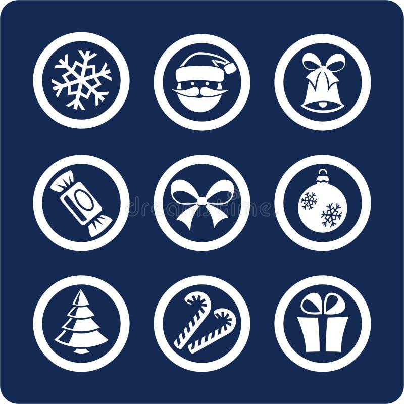 Iconos de la Navidad y del Año Nuevo (fije 1, parte 1) ilustración del vector