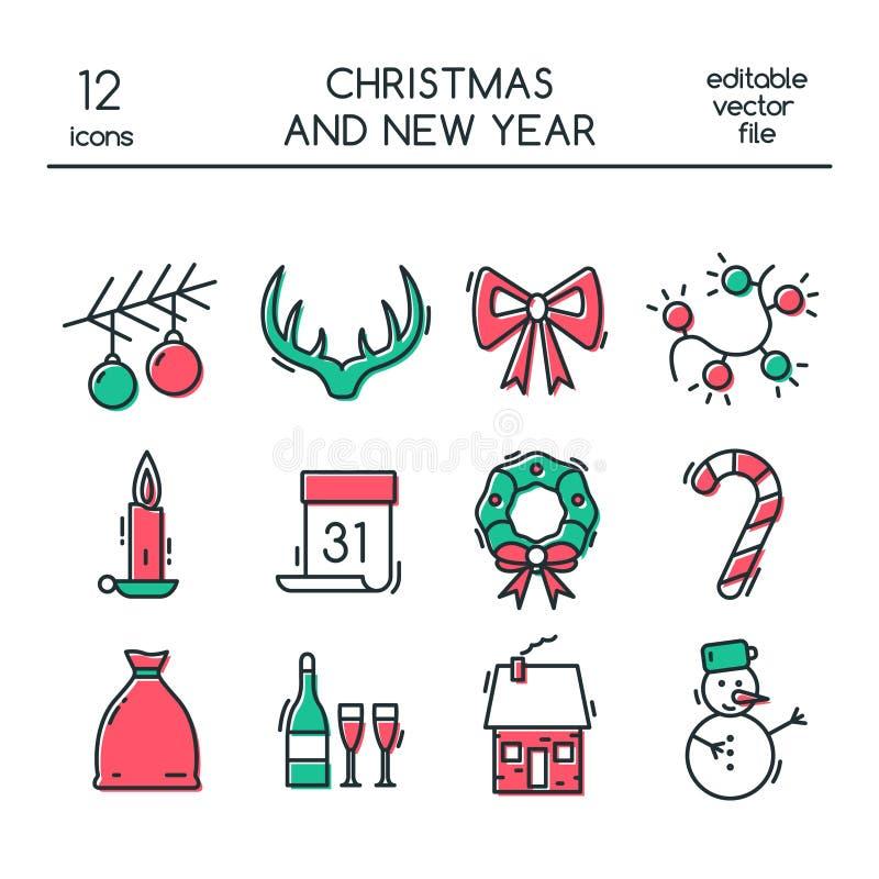 Iconos de la Navidad y del Año Nuevo hechos en la línea estilo moderna stock de ilustración