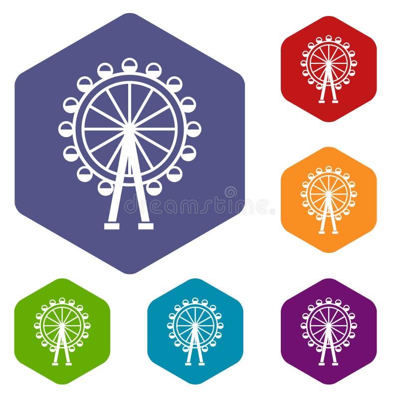 Iconos de la noria fijados ilustración del vector