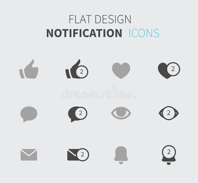 Iconos de la notificación en diseño plano libre illustration