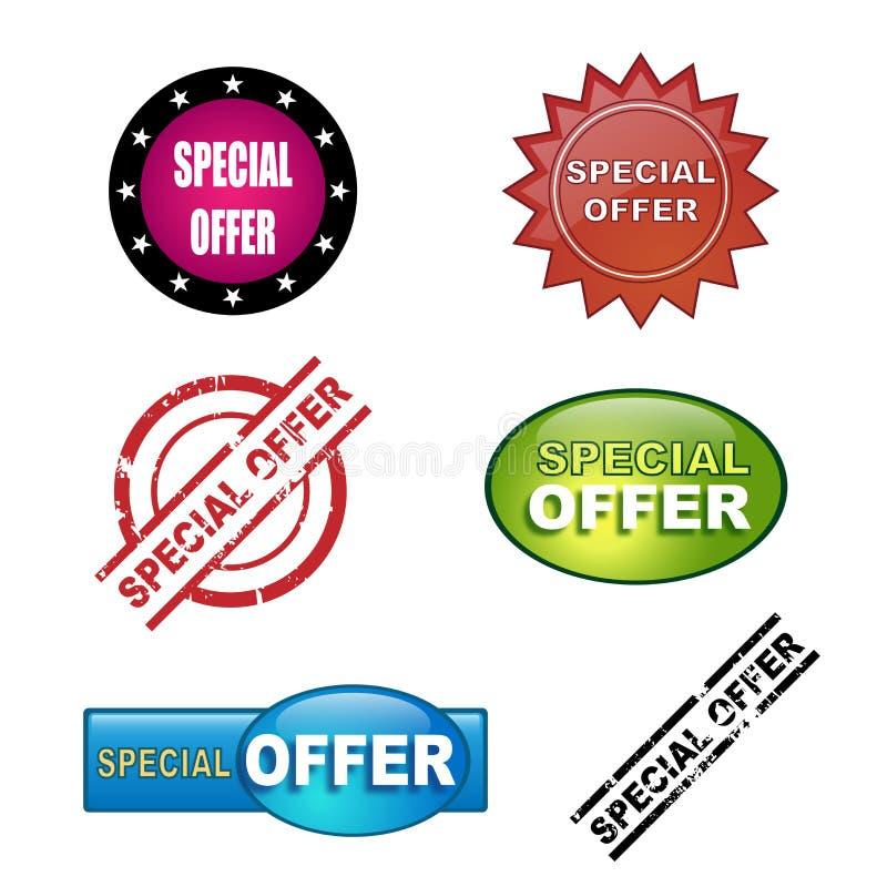 Iconos de la oferta especial stock de ilustración