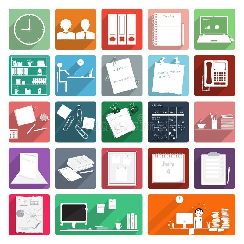 Iconos de la oficina de negocios con la sombra larga libre illustration