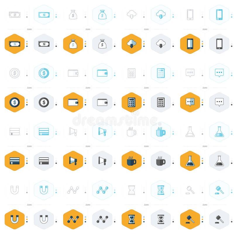 Iconos de la oficina 16 estilos del diseño 4 stock de ilustración