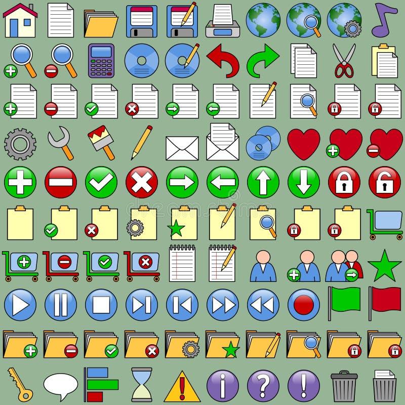 Iconos de la oficina fijados ilustración del vector
