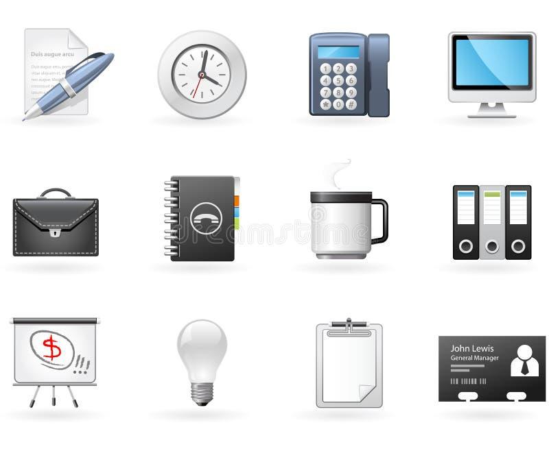 Iconos de la oficina y del asunto ilustración del vector