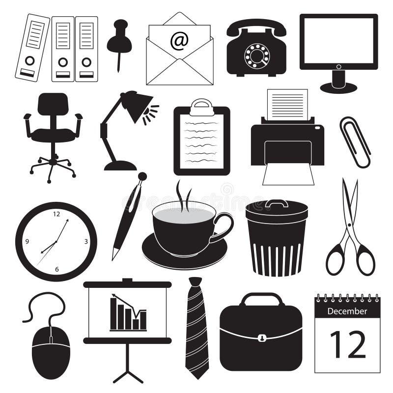 Iconos de la organización del negocio y de oficina ilustración del vector