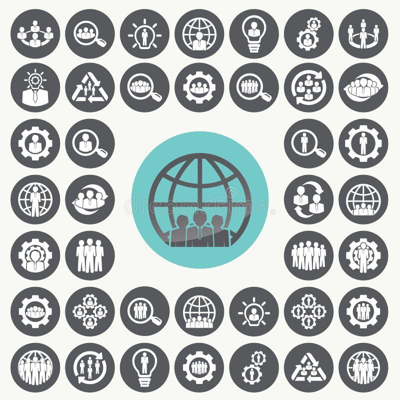 Iconos de la organización fijados ilustración del vector