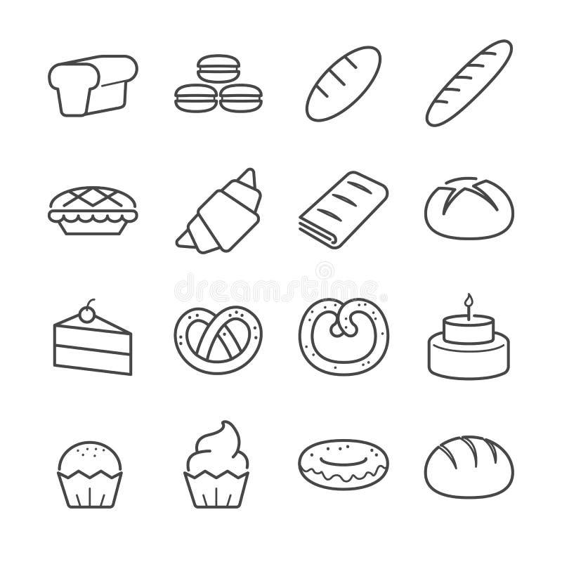 Iconos de la panadería stock de ilustración