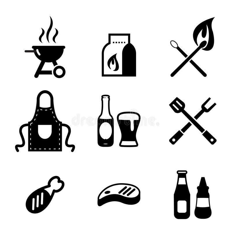 Iconos de la parrilla o de la barbacoa libre illustration