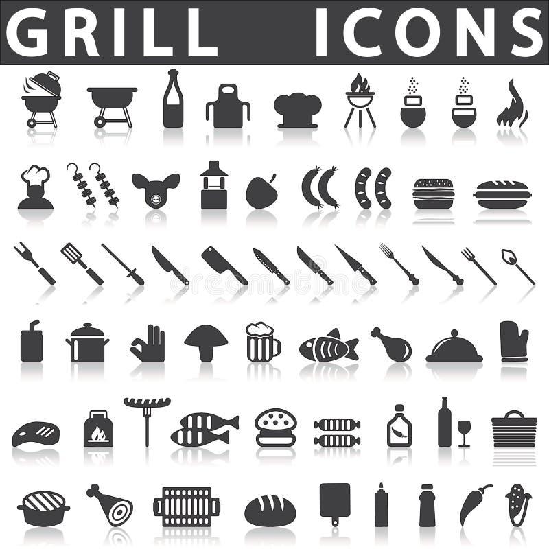 Iconos de la parrilla o de la barbacoa stock de ilustración