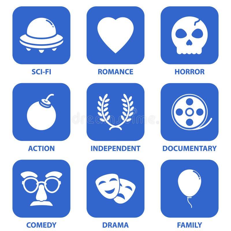 Iconos de la película ilustración del vector