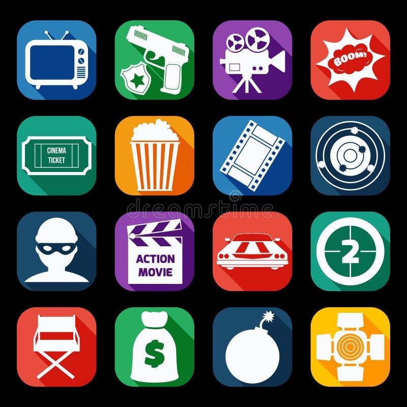 Iconos de la película de acción fijados ilustración del vector