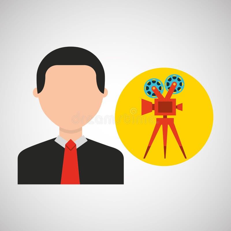 Iconos de la película de cine del hombre de negocios ilustración del vector
