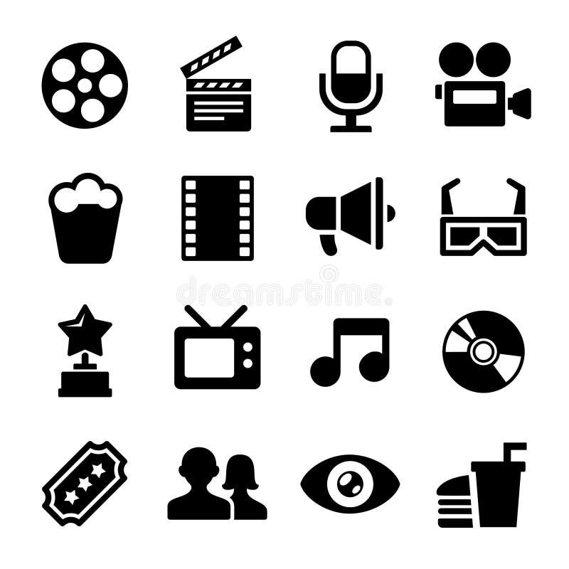 Iconos de la película fijados stock de ilustración
