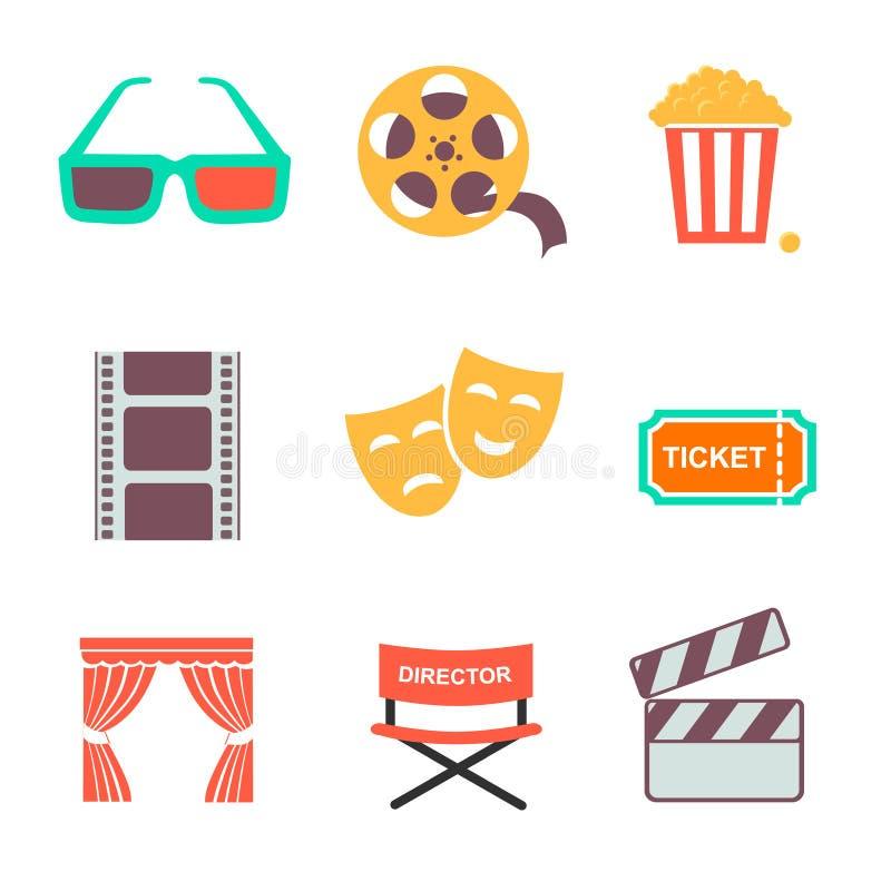 Iconos de la película y de la película fijados Diseño plano del estilo ilustración del vector