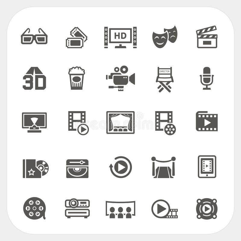Iconos de la película y de los medios fijados ilustración del vector