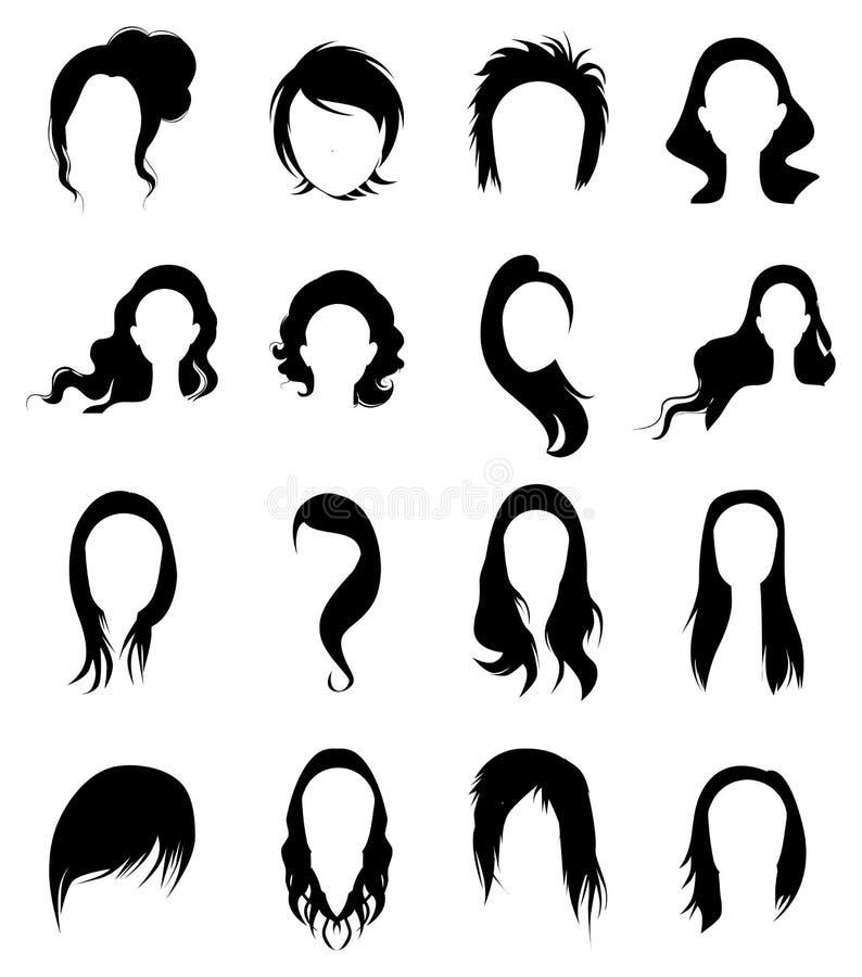 Iconos de la peluca del pelo de las señoras fijados libre illustration