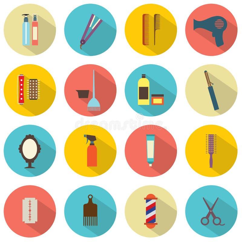 Iconos de la peluquería ilustración del vector