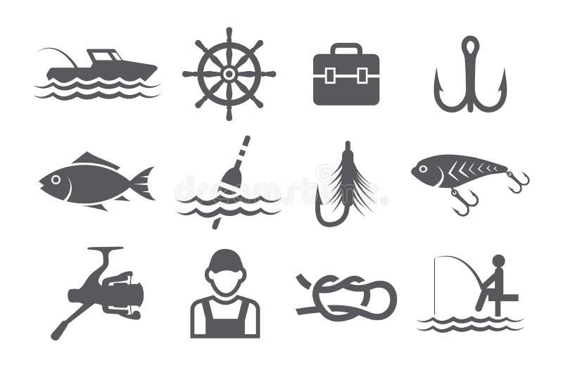 Iconos de la pesca stock de ilustración