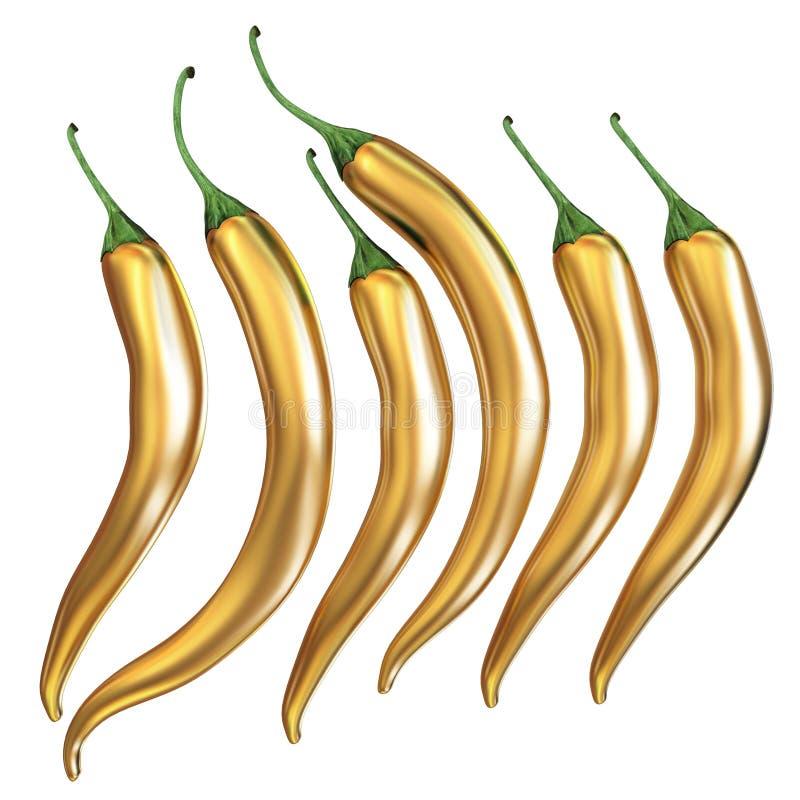 Iconos de la pimienta de chiles calientes fijados ilustración del vector