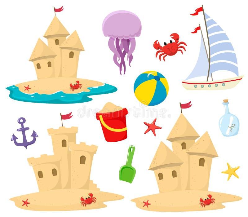 Iconos de la playa del castillo de arena fijados con los elementos decorativos en estilo de la historieta Tema marina El vector a ilustración del vector