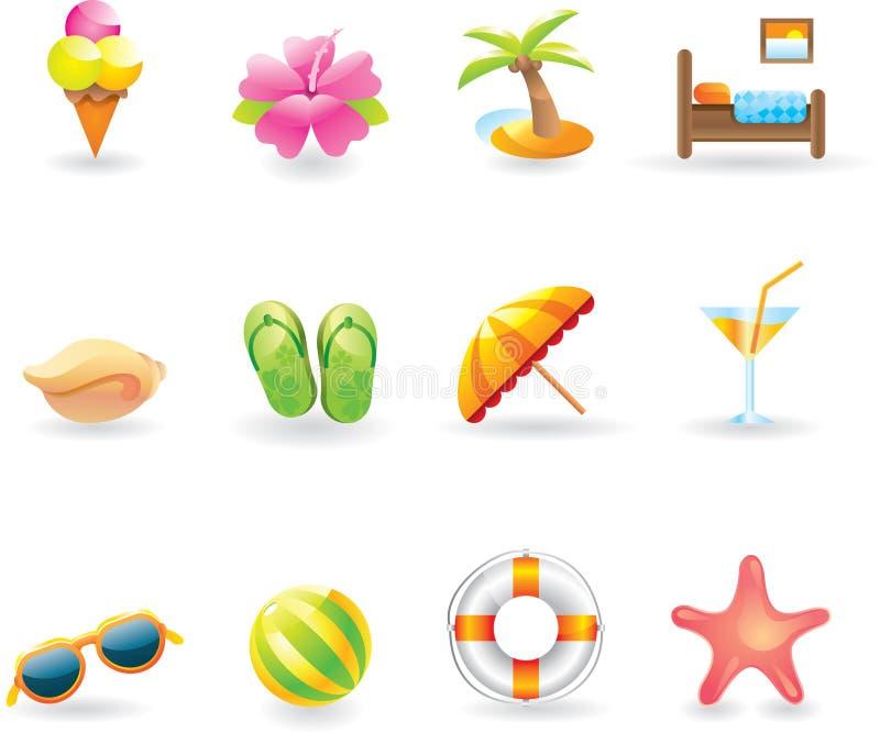 Iconos de la playa fijados stock de ilustración
