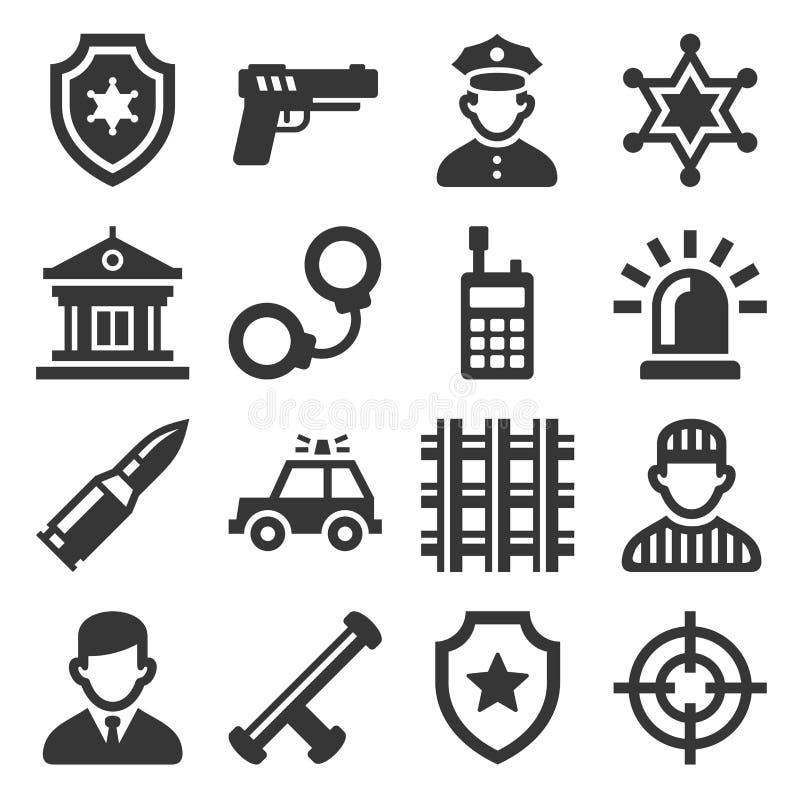 Iconos de la policía fijados en el fondo blanco Vector ilustración del vector
