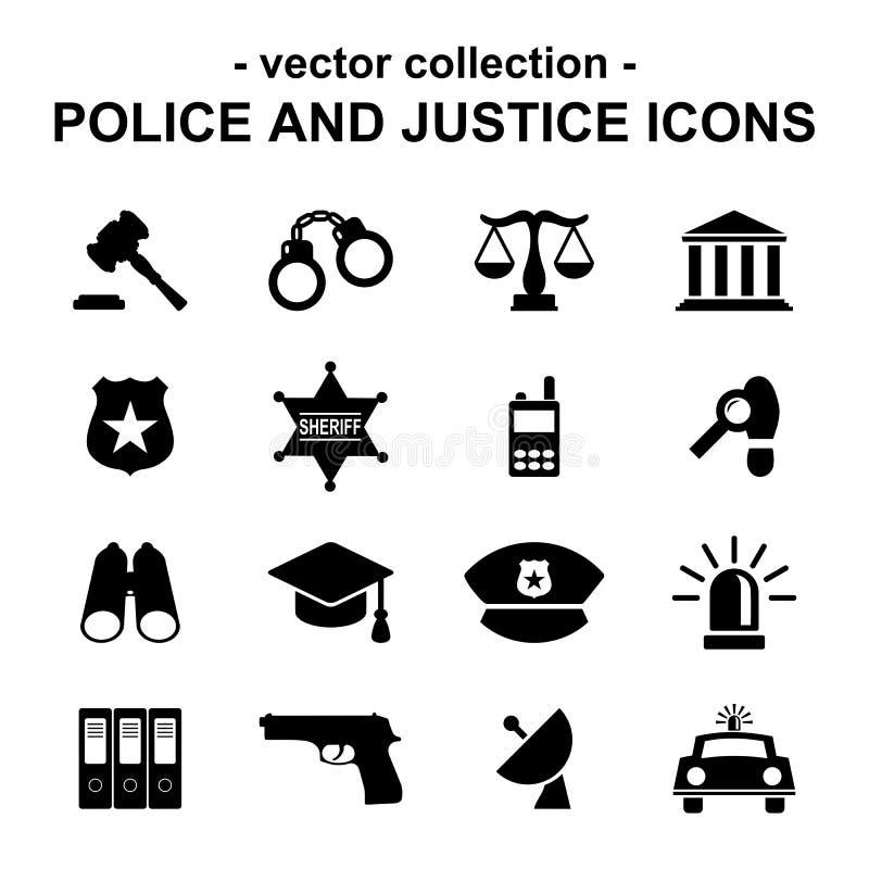 Iconos de la policía y de la justicia stock de ilustración