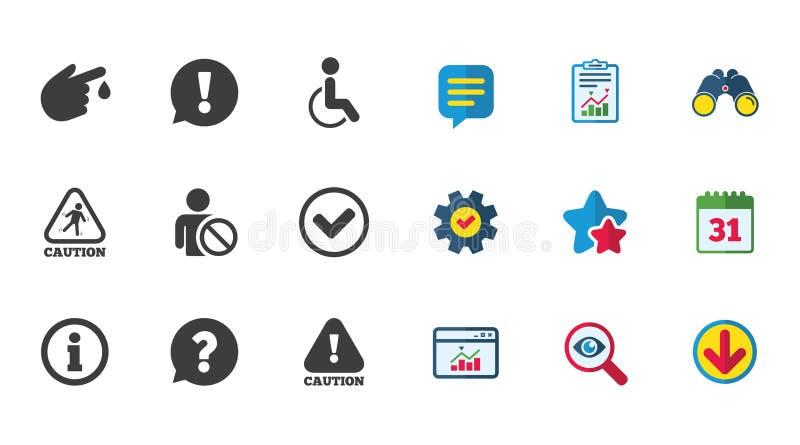 Iconos de la precaución y de la atención Muestras de la información libre illustration