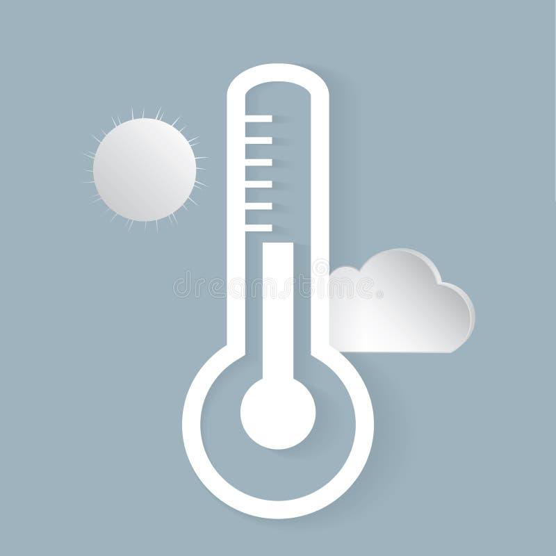 Iconos de la previsión metereológica para su diseño Termómetro al aire libre, Sun, nube ilustración del vector