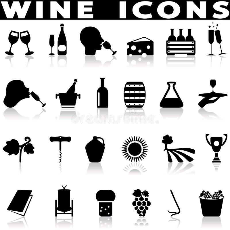 Iconos de la producción de vino fijados ilustración del vector