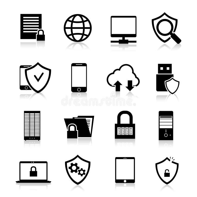 Iconos de la protección de datos ilustración del vector