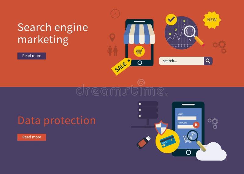 Iconos de la protección de datos stock de ilustración