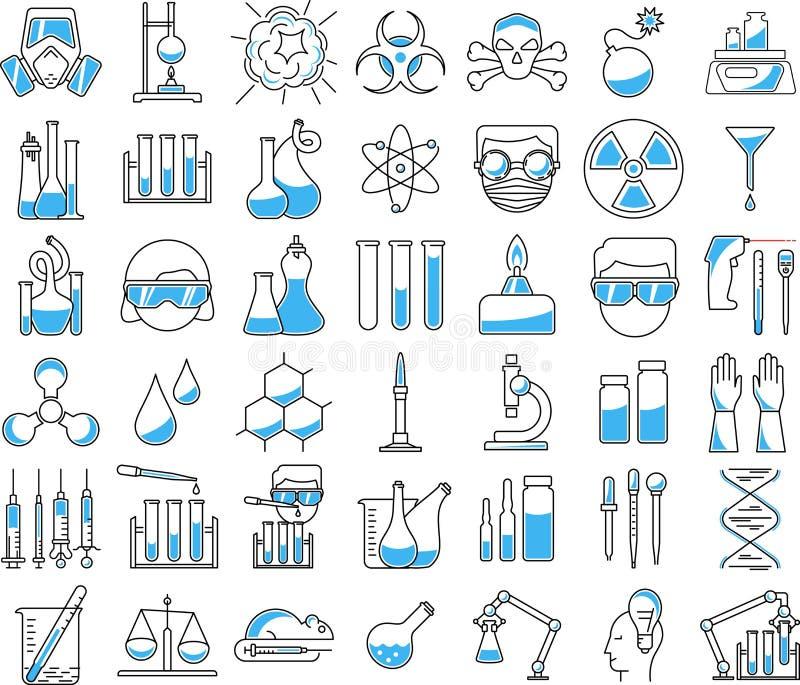 Iconos de la química en estilo linear ilustración del vector