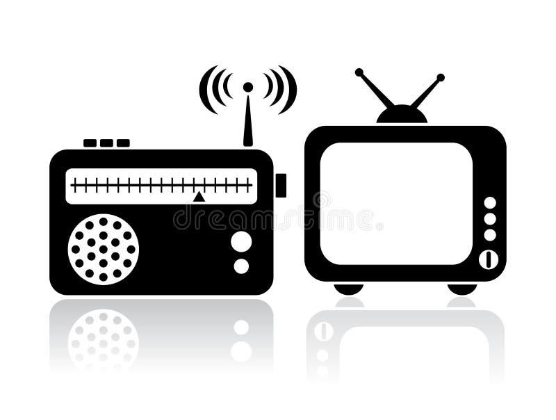 Iconos de la radio de la TV ilustración del vector