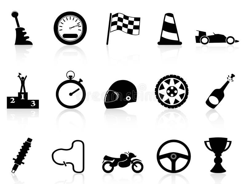 Iconos de la raza del motor fijados ilustración del vector