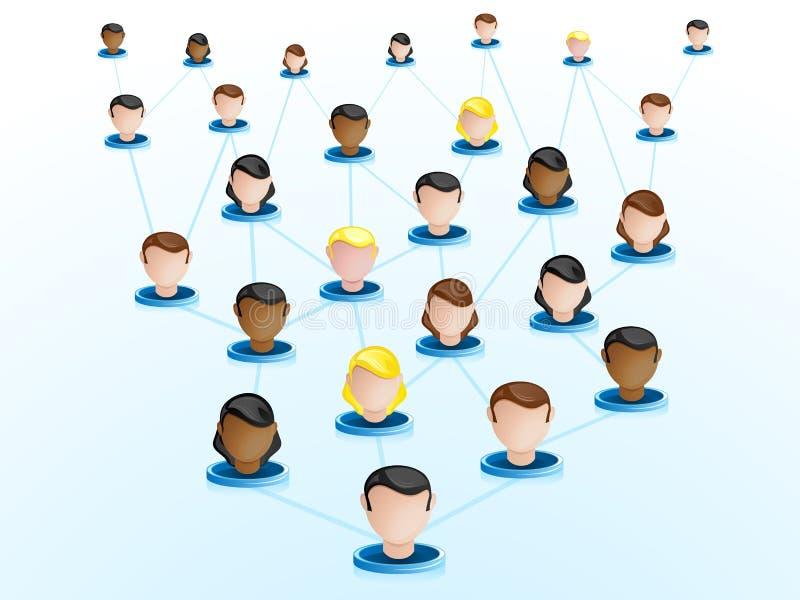 Iconos de la red de Crowdsourcing ilustración del vector