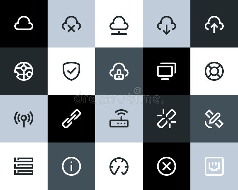 Iconos de la red inalámbrica. Plano stock de ilustración
