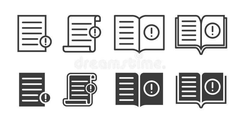 Iconos de la referencia de la dirección del folleto y de usuario de la guía Libro del vector o documento de la web de la informac stock de ilustración