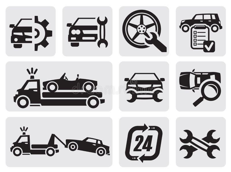 Iconos de la reparación del coche stock de ilustración