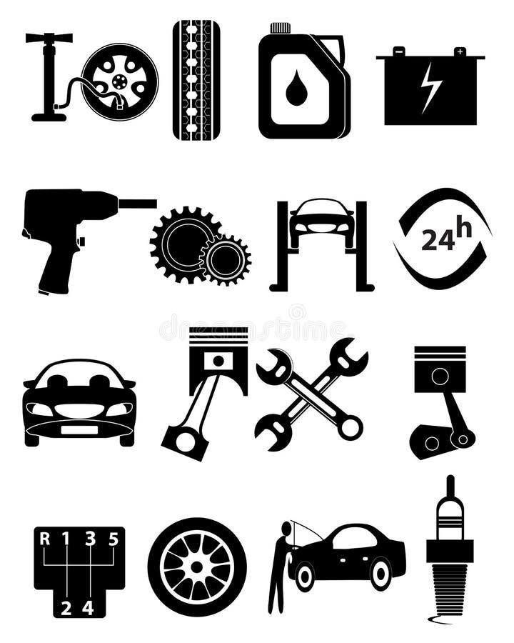 Iconos de la reparación del coche fijados ilustración del vector