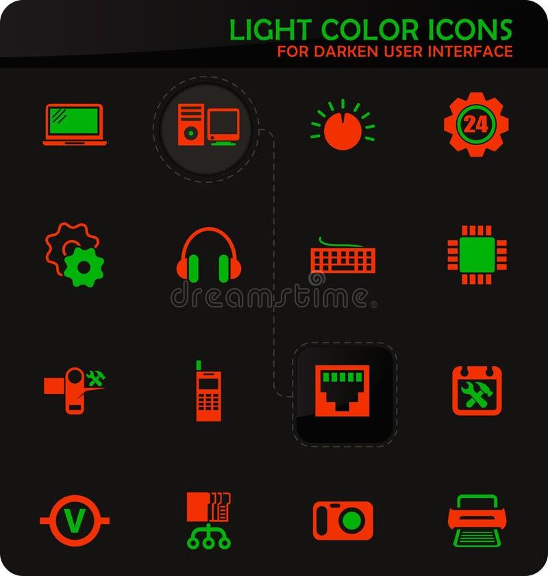 Iconos de la reparación de la electrónica fijados ilustración del vector