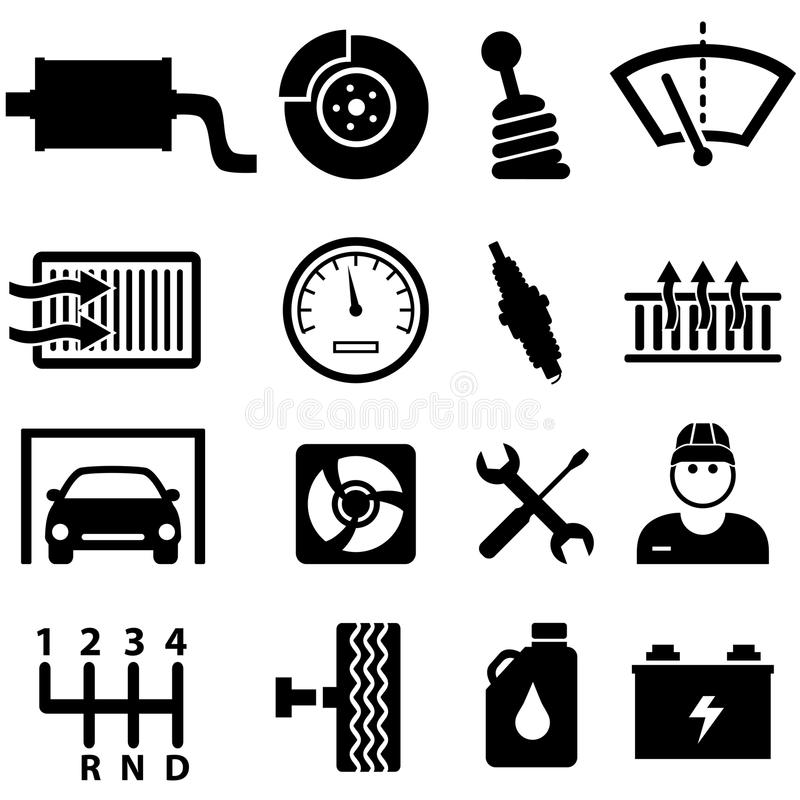 Iconos de la reparación y del mecánico del coche stock de ilustración