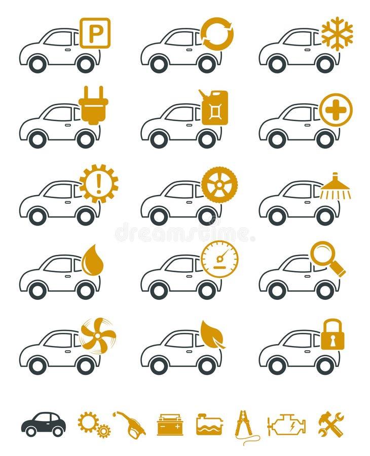Iconos de la reparación y del servicio del coche ilustración del vector