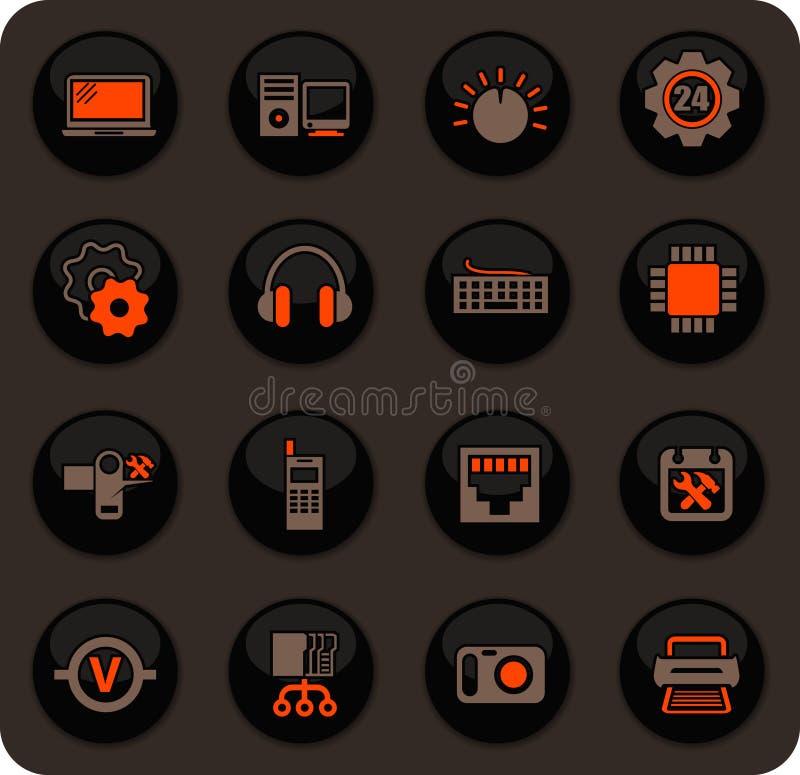 Iconos de la reparaci?n de la electr?nica fijados ilustración del vector