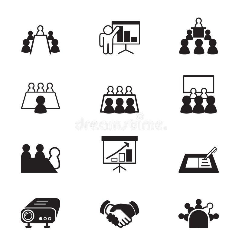 Iconos de la reunión y de la conferencia de negocios fijados ilustración del vector
