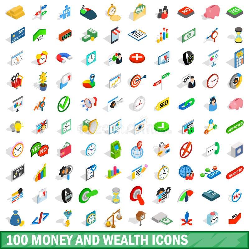 100 iconos de la riqueza del dinero fijaron, el estilo isométrico 3d libre illustration